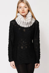 Fluffy Faux Fur Twisted Neck Snood Scarf