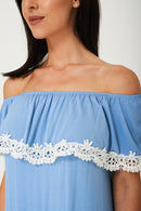 Off Shoulder Lace Detail Dress in Blue Ex Brand-Fabulous Bargains Galore