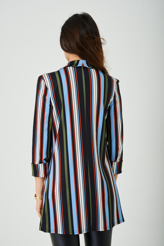 Longline Blazer in Stripes Ex Brand-Fabulous Bargains Galore