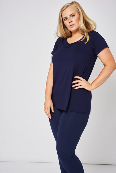 Bateau Neck Top In Navy Ex-Branded
