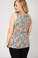 Pleat Front Sleeveless Top With Floral Pattern-Fabulous Bargains Galore