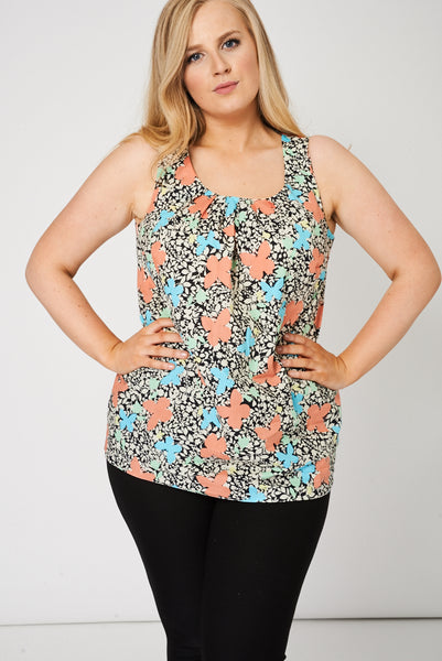 Pleat Front Sleeveless Top With Floral Pattern