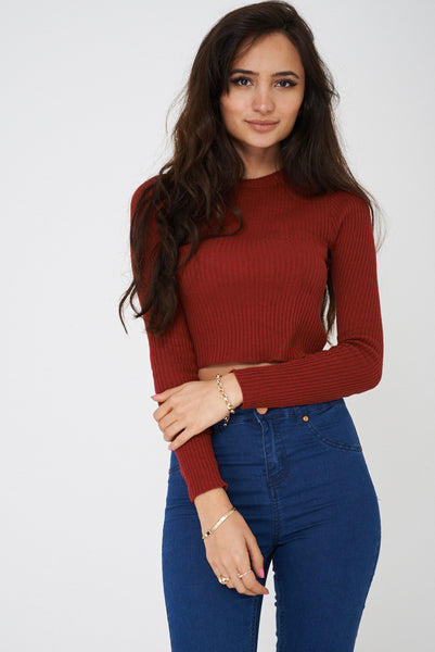 Burgundy Ribbed Crop Top Ex Brand