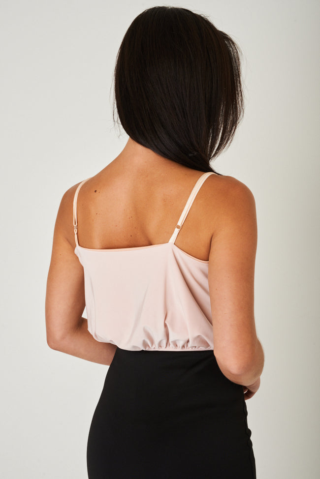 Slinky Wrap Front Bodysuit in Pink Ex Brand-Fabulous Bargains Galore