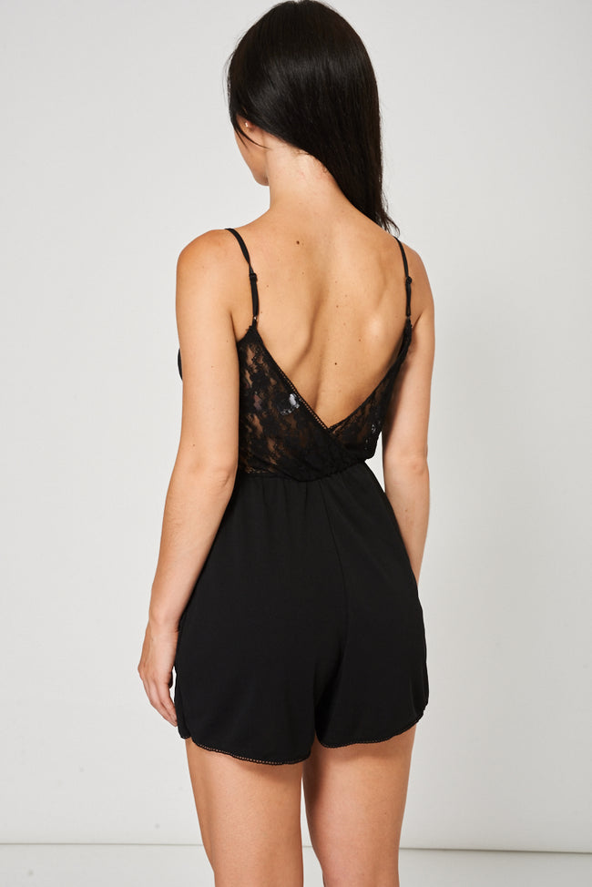 Floral Lace Cami Playsuit In Black Ex-Branded-Fabulous Bargains Galore
