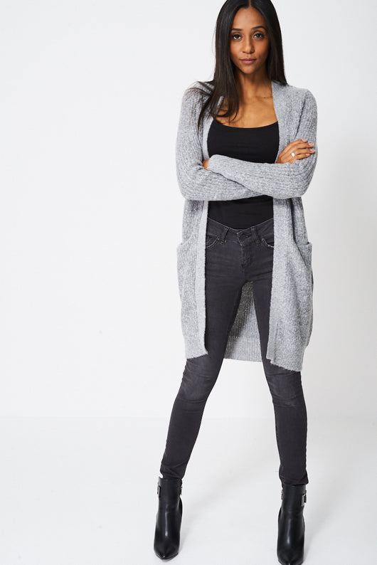 Longline Cardigan In Grey-Fabulous Bargains Galore