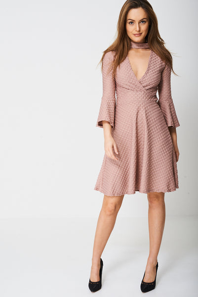 Bell Sleeve Skater Dress In Pink