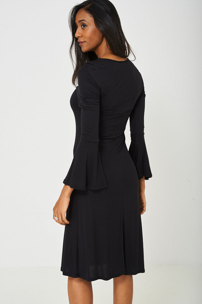 Bell Sleeve Dress in Black-Fabulous Bargains Galore
