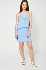 Spaghetti Strap Blue Summer Dress