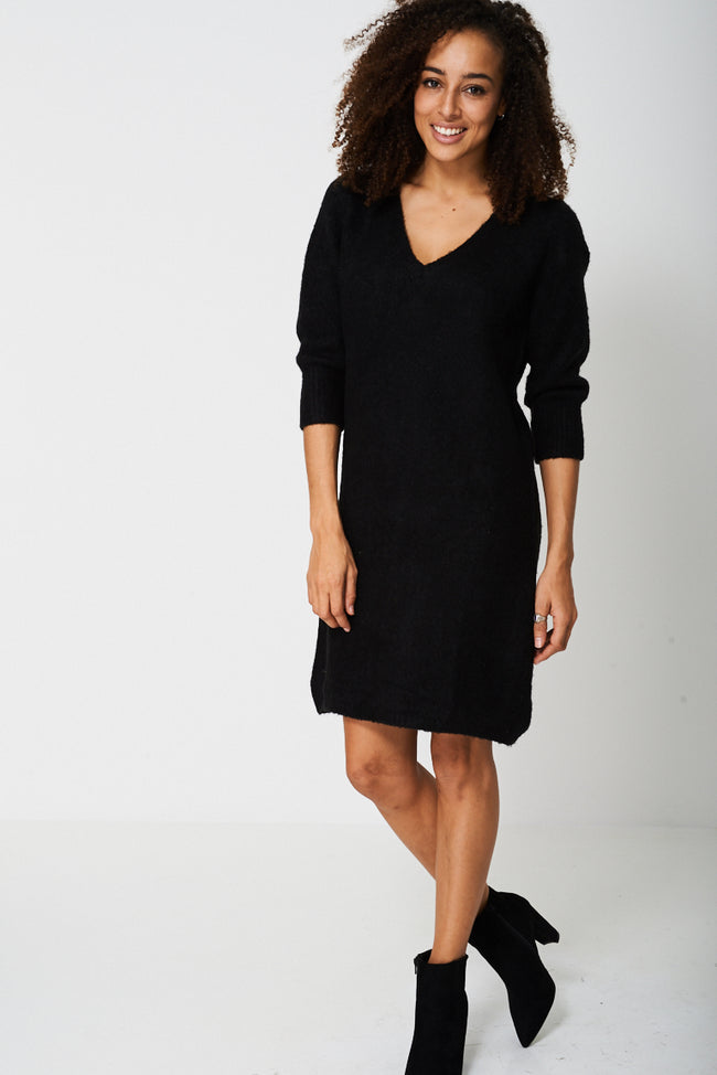 Knitted Jumper Dress in Black Ex-Branded-Fabulous Bargains Galore