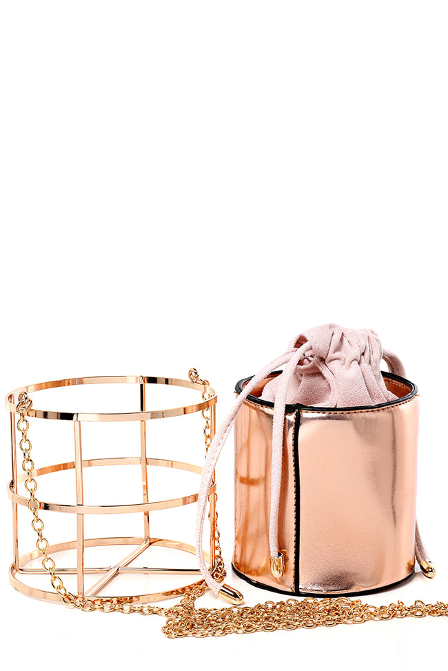 Cage Clutch Bag in Rose Gold-Fabulous Bargains Galore