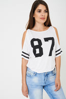 BIK BOK Off Shoulder Baseball Top in White-Fabulous Bargains Galore
