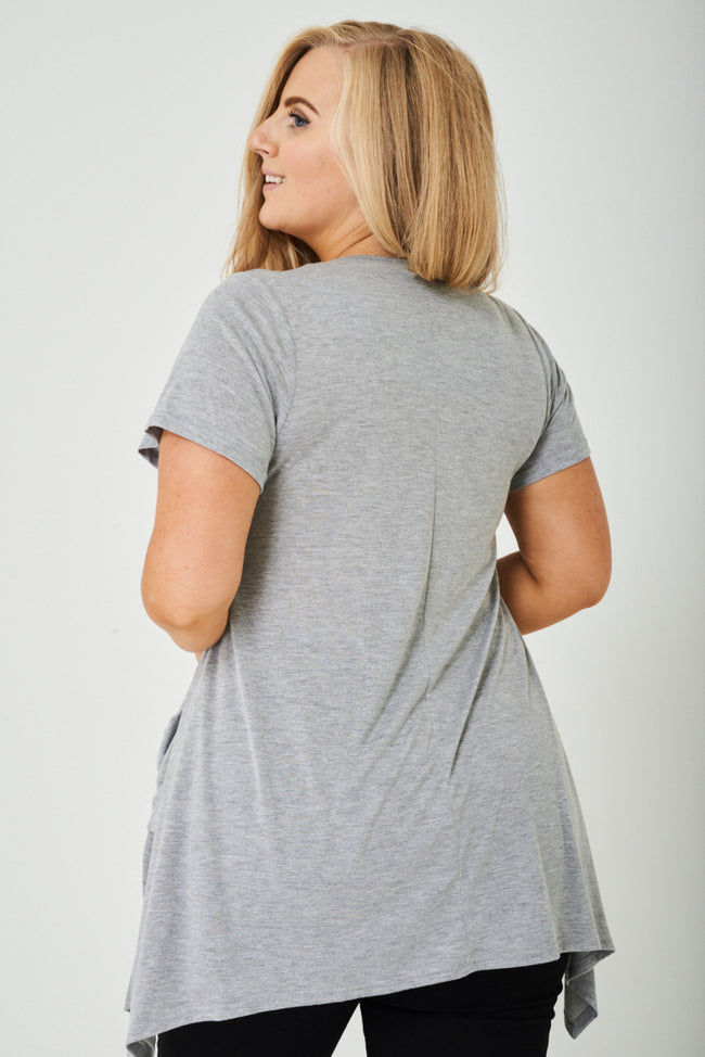PLUS SIZE Oversized Top in Light Grey-Fabulous Bargains Galore
