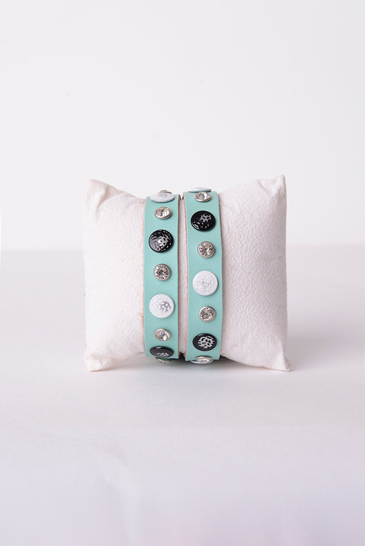Leather Studded Bracelet in Green-Fabulous Bargains Galore