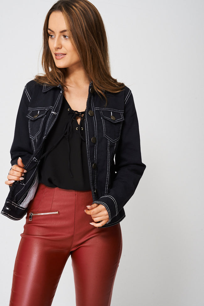 Denim Jacket Lightning Black-Fabulous Bargains Galore