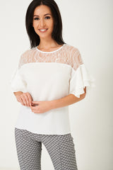 White Top with Lace Front Detail Ex Brand Ex Brand