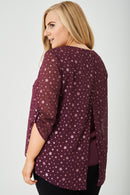 PLUS SIZE Split Back Top in Glitter Stars Ex Brand-Fabulous Bargains Galore
