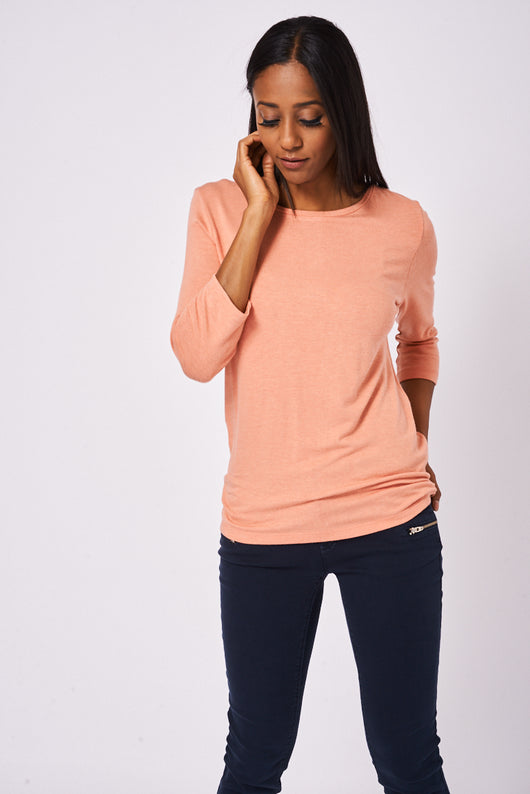 BIK BOK Half Sleeve Top With Back Zip In Peach-Fabulous Bargains Galore