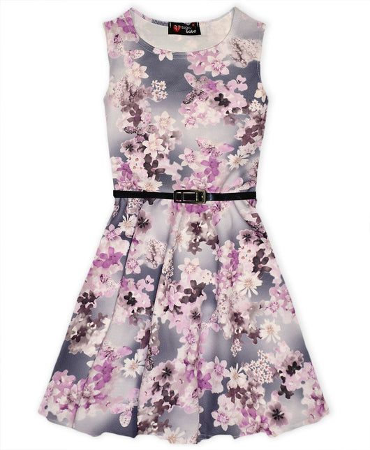 Floral Print Belted Girls Skater Dress-Fabulous Bargains Galore
