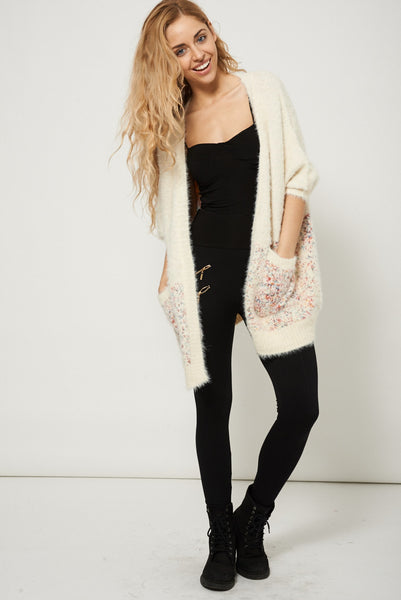 Fluffy Soft Touch Open Front Cream Knitted Womens Cardigan Sweater
