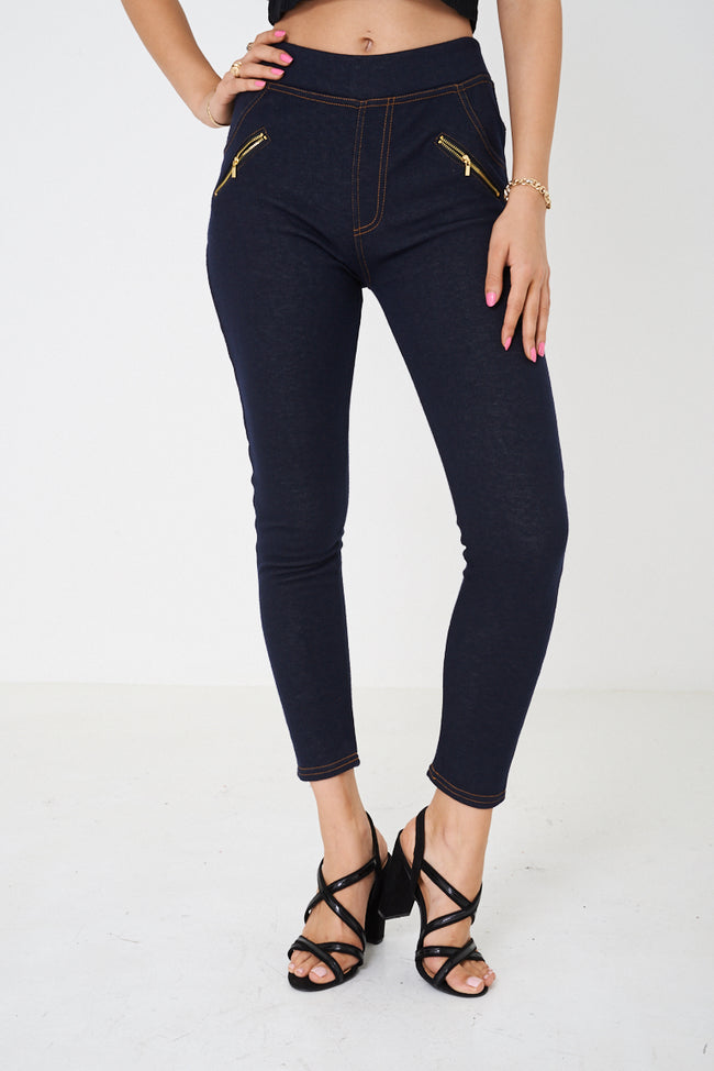 Navy Fleece-Lined Leggings-Fabulous Bargains Galore
