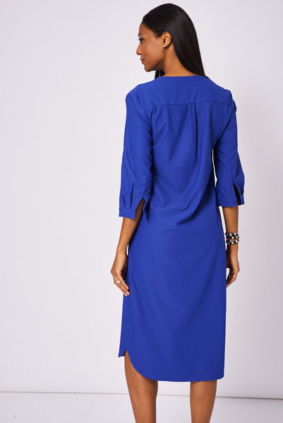 Blue Button Front Long Dress Available In Plus Size