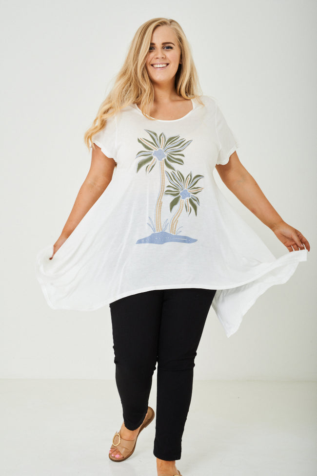 PLUS SIZE White Top with Floral Printed Front-Fabulous Bargains Galore