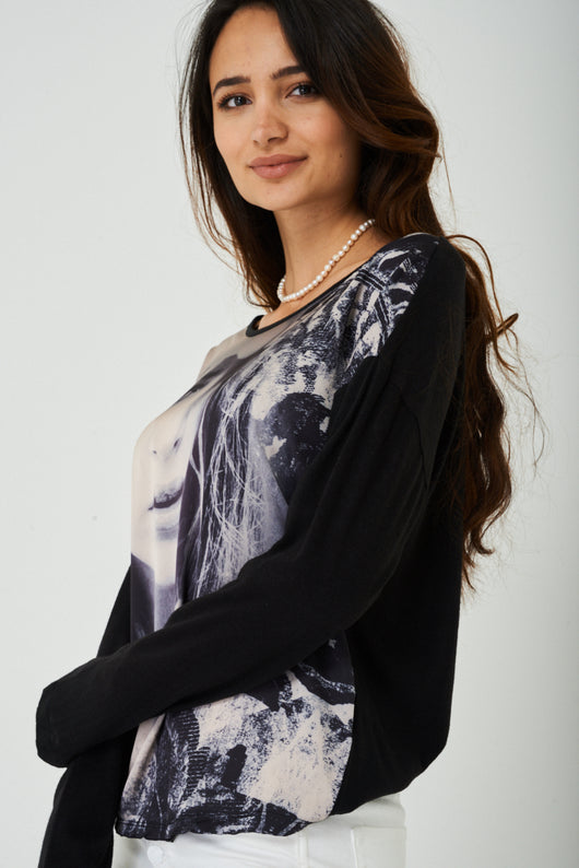 Face Print Top in Black-Fabulous Bargains Galore