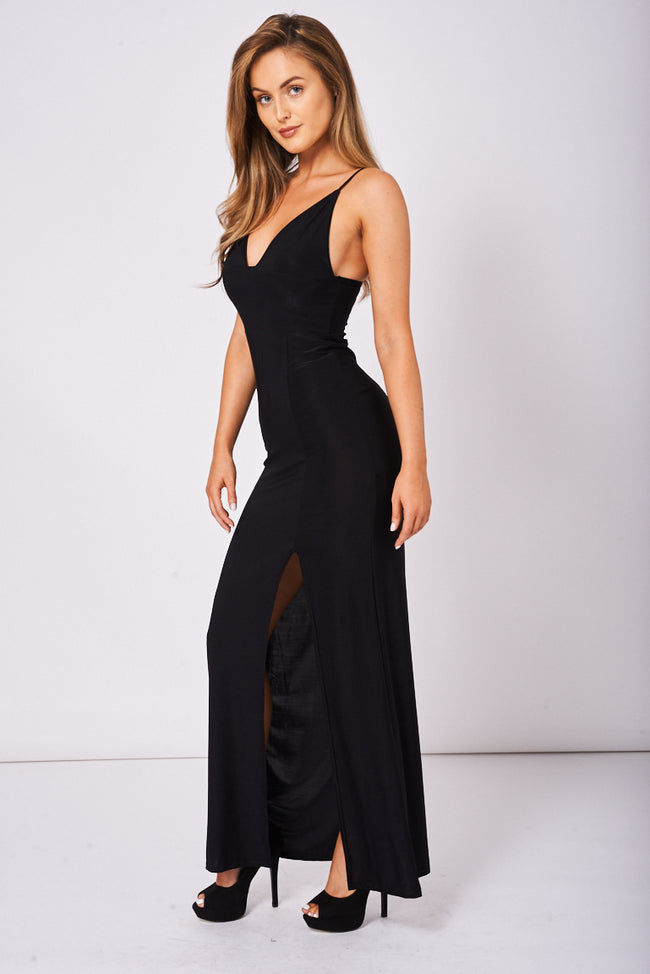 Slinky Deep Plunge Maxi Dress Ex-Branded-Fabulous Bargains Galore