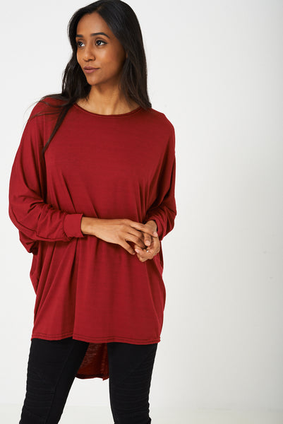 Oversized Tunic Top in Burgundy