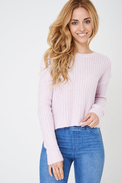 Cropped Knit Jumper in Pink