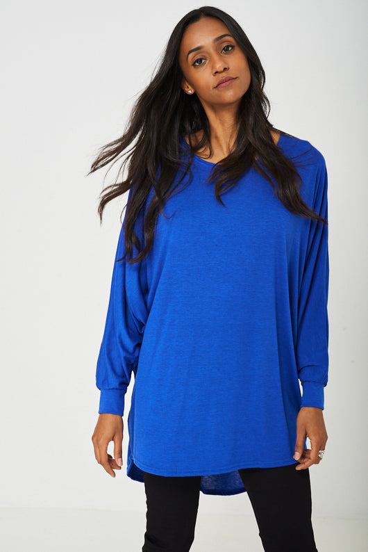 Oversized Tunic Top in Sapphire Blue-Fabulous Bargains Galore