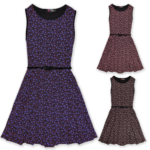 Girls Ditsy Floral Skater Dress With Black Belt