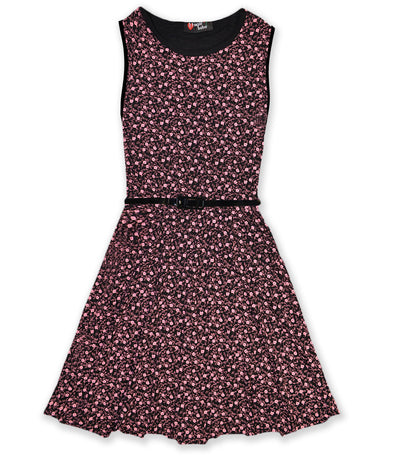 Girls Ditsy Floral Skater Dress With Black Belt - Fabulous Bargains Galore