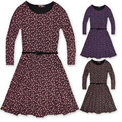 Girls Long Sleeve Ditsy Floral Skater Dress With Black Belt