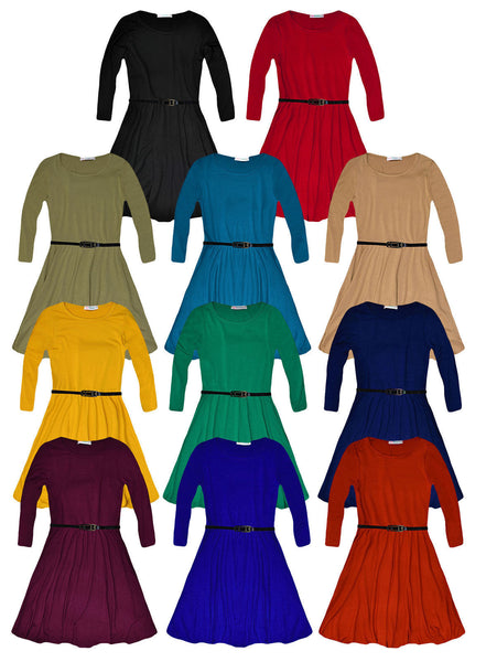 Girls Plain Long Sleeved Flared Skater Dress