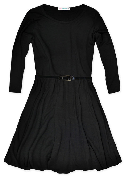 Girls Plain Long Sleeve Skater Dress Ages 5-13 Years - Fabulous Bargains Galore