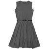 Girls Plain Sleeveless Flared Skater Dress With Free Belt