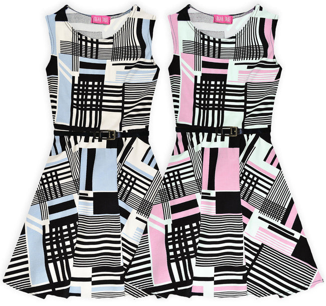 Sleeveless Printed Skater Dress for Girls-Fabulous Bargains Galore
