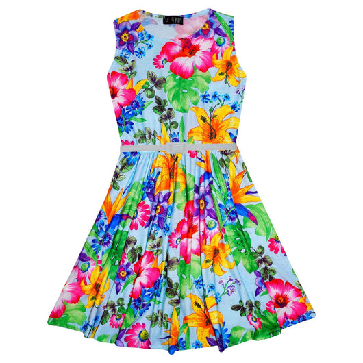 Sleeveless Colourful Floral Print Belted Girls Skater Dress-Fabulous Bargains Galore