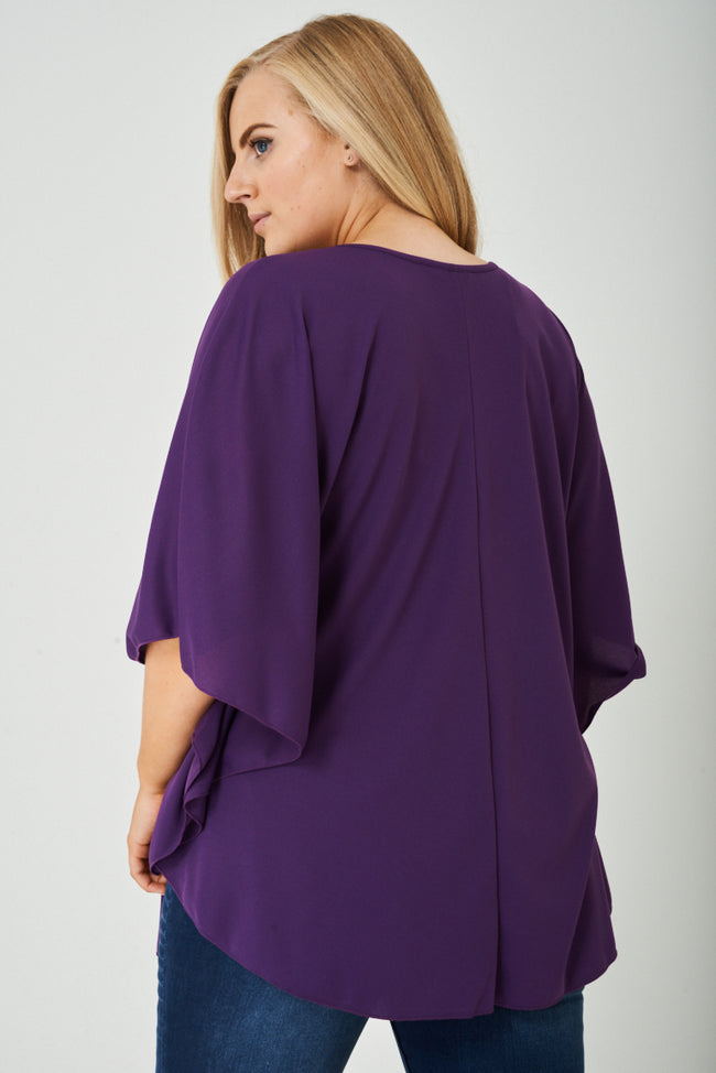 PLUS SIZE Ruched Side Flared Top in Purple-Fabulous Bargains Galore
