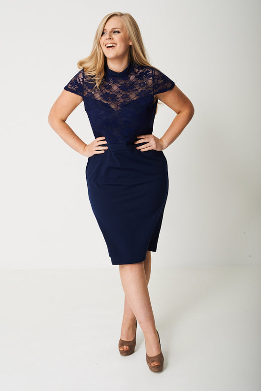 PLUS High Neck Crochet Lace Pencil Dress-Fabulous Bargains Galore