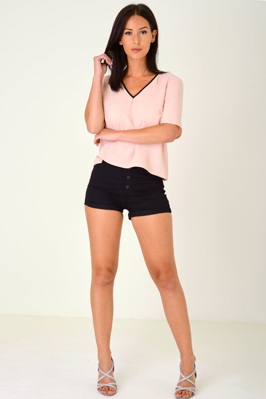 Black High Waisted Shorts with Exposed Button Fly Ex Brand-Fabulous Bargains Galore