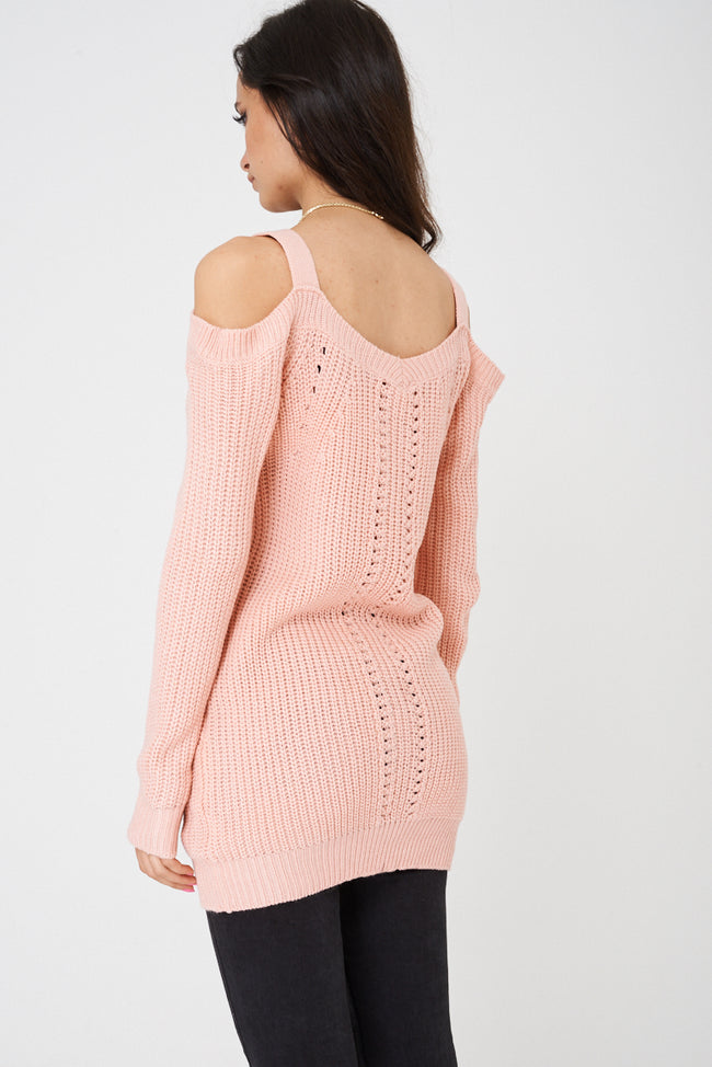 Pink Cold Shoulder Knitted Jumper Ex Brand-Fabulous Bargains Galore