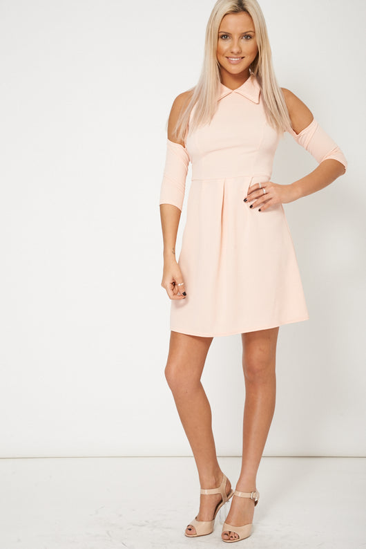 Cut Out Shoulder Collar Dress In Peach Plus Sizes Available-Fabulous Bargains Galore