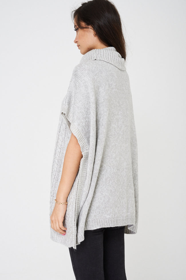 Chunky Cable Knit Pullover in Grey Ex Brand-Fabulous Bargains Galore