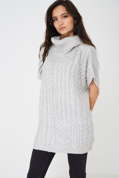 Chunky Cable Knit Pullover in Grey Ex Brand