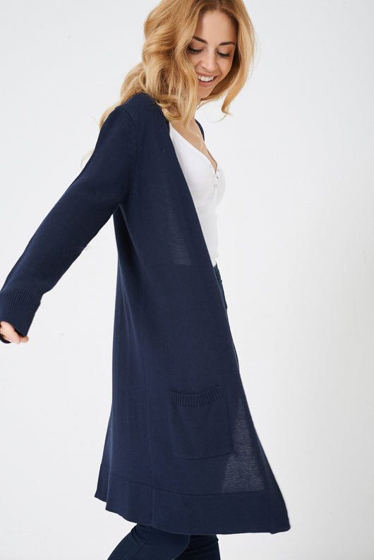 Navy Open Front Knitted Cardigan