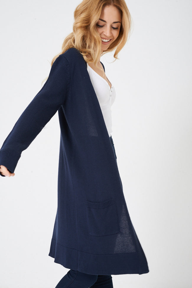 Navy Open Front Knitted Cardigan-Fabulous Bargains Galore