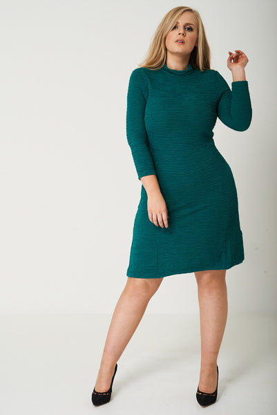 PLUS Textured Skater Dress in Green